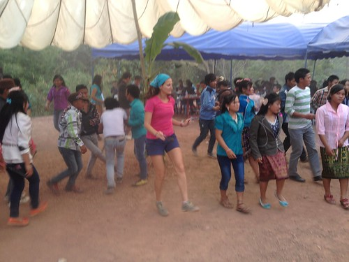 Lina doing the local version of the electric slide at an Akha tribe wedding outside of Muang Sing