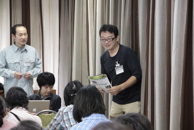 安芸太田町の職員さんから,安芸太田町が広島県初の森林セラピー基地に認定されたことや,これからの取り組みを紹介していただきた.