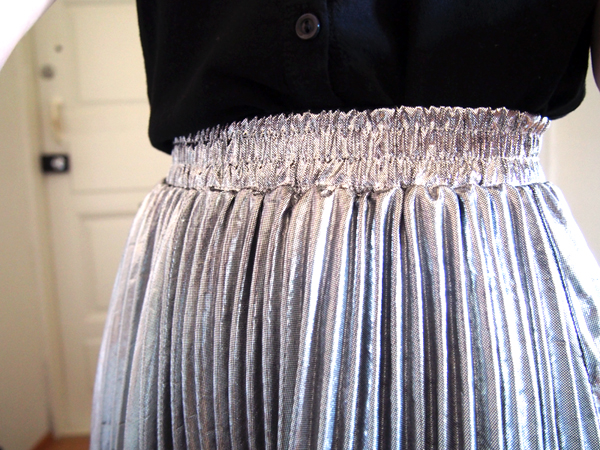 silver draped skirt