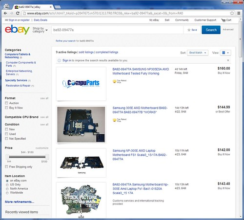 Replacement motherboard for a Samsung NP305 laptop - around AU$150 new on eBay