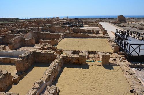 Der archäologische Park in Paphos ganz ohne Schatten