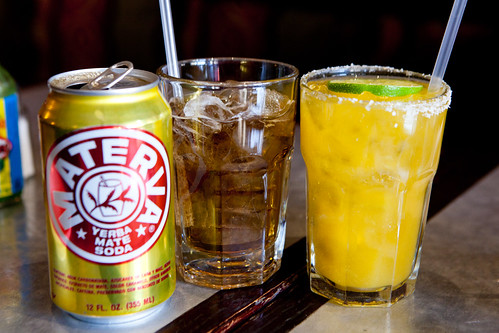 Mango margarita (right) and Materva, a Yerba Mate soda