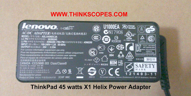 ThinkPad 45 watts adapter information
