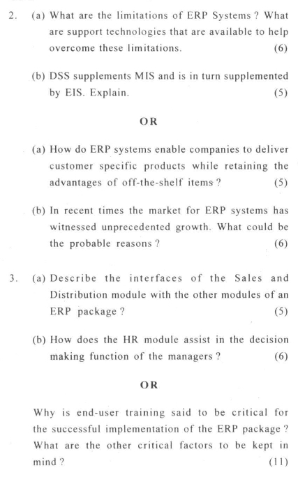 DU SOL: B.Com. (Hons.) Programme Question Paper - Enterprise Resource Planning - Paper XXXIV