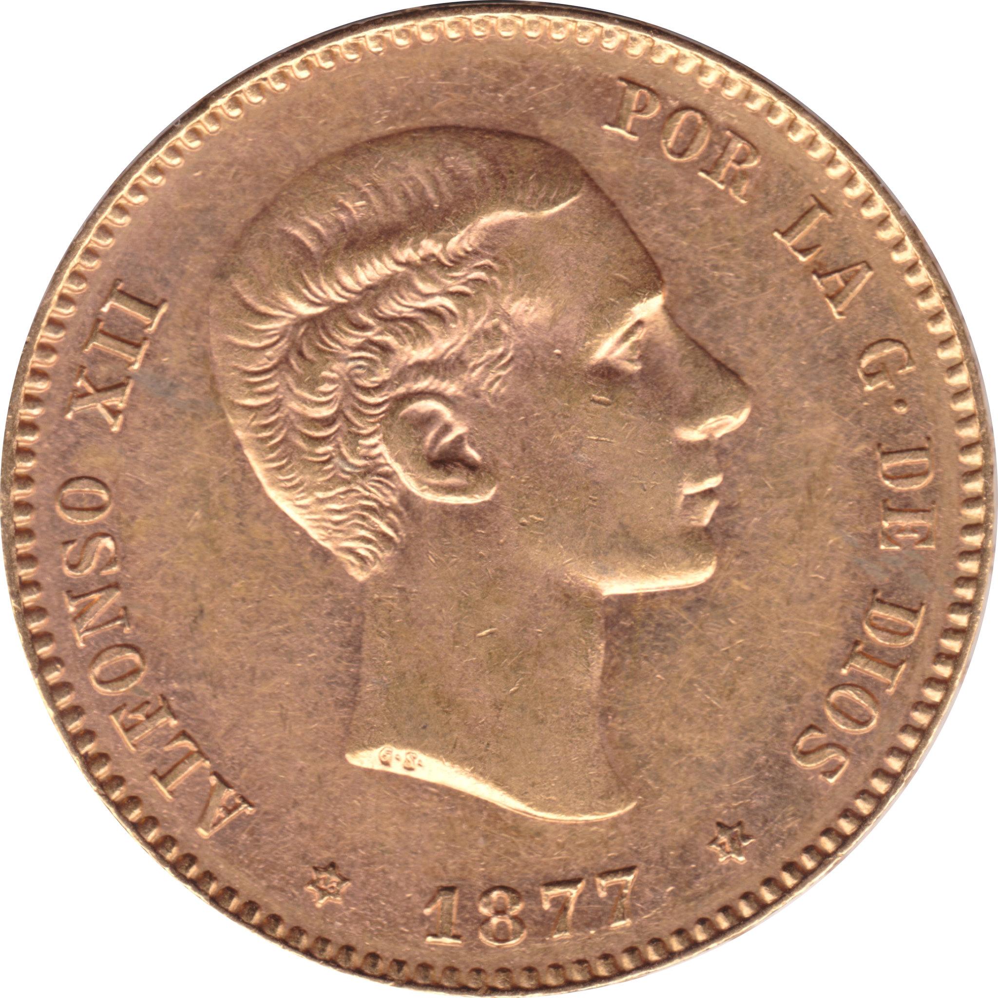 25 Pesetas 1877 *18 *77 Alfonso XII- DEM (subasta Cayon 24 abril)  8683506992_a7ffef22aa_k