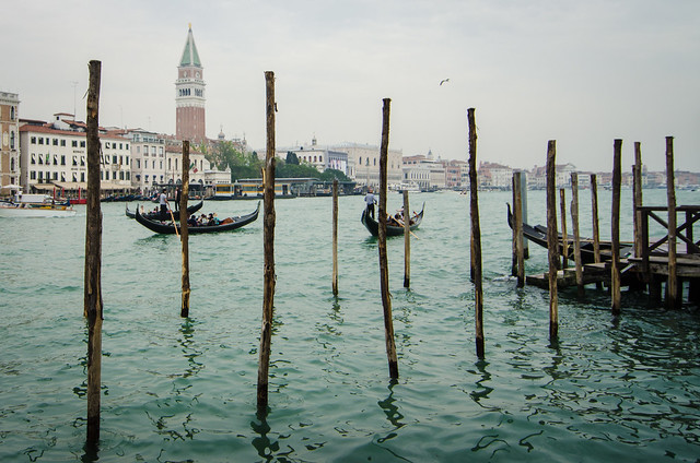 A view of St. Mark's Campanile from San Salute Church in Venice, Italy.