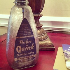 This is the old Parker Quink ink bottle I picked up at the pen show that I keep forgetting to photograph.