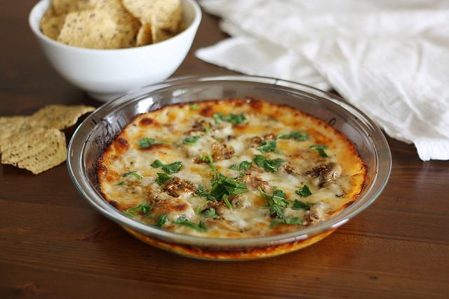 garlic + mushroom queso fundido