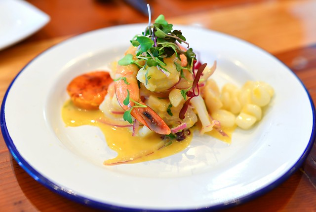 CEVICHE MIXTO  Halibut, prawns, scallops, squid, red onion, rocoto leche de tigre, camote