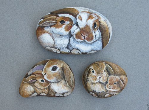 Bunny Mother and Baby hand Painted on the Rock by Alika-Rikki