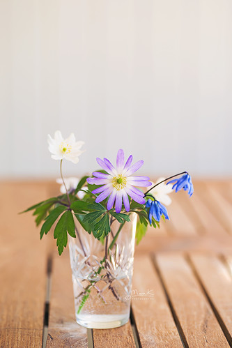 A glass of spring flowers