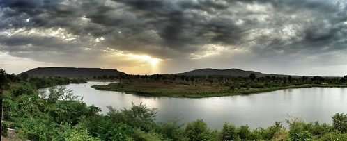 africa sunset panorama reflection river landscape gold evening mine mining mali kédougou uploaded:by=flickrmobile flickriosapp:filter=nofilter