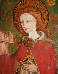 St Barbara and her tower (15th Century)