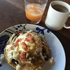#hantzhouse #brunch is made from leftovers from last night's Tex-next dinner with the grad students...toasted tortillas, with beans, fried egg & cheese...gin & juice...and coffee