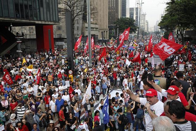 Imagen de la protesta del domingo 11 de septiembre en São Paulo  - Créditos: Dino Santos/CUT