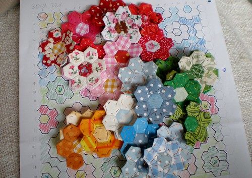 Miniature patchwork hexagons