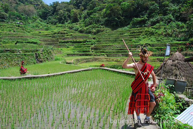dressed in Ifugao traditional dress at Bangaan Rice Terraces ...
