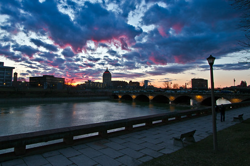 street bridge sunset sky ny clouds landscape outside outdoors spring andrews day cloudy kodak scenic rochester geneseeriver wny dandangler