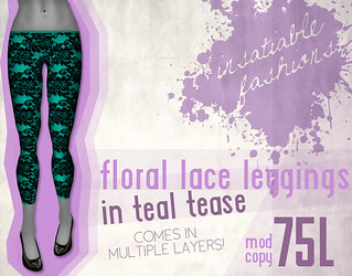 [IF] Floral Lace Leggings in Teal Tease