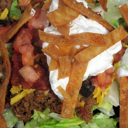 Taco salad with freshly fried tortilla strips by Coyoty