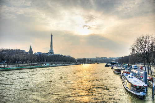 Boats Seine River Eiffel Tower