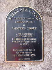Photo of David Gill, John Farquhar, and Farquhar and Gill's Colour Works black plaque
