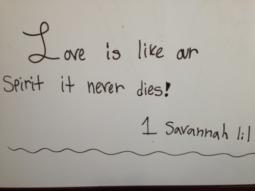 A Word from Savannah :)