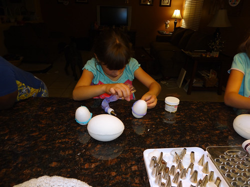 Kimberly making her egg