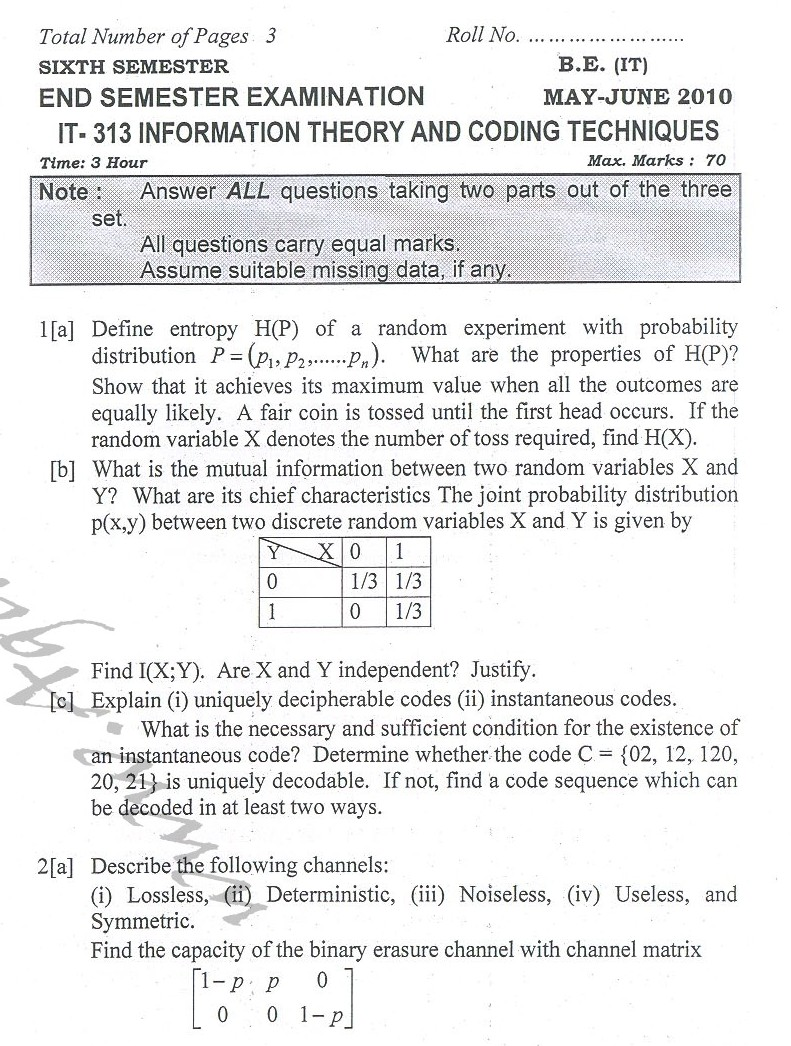 DTU Question Papers 2010 – 6 Semester - End Sem - IT-313