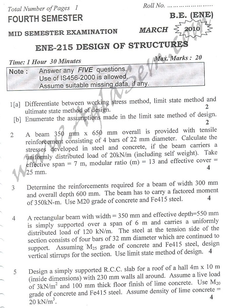 DTU Question Papers 2010 – 4 Semester - Mid Sem - ENE-215