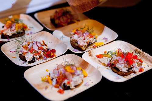 Peekytoe Crab Crostini, Cumin Mayonnaise, Radish, and Nasturtium Vinaigrette by Justin Bazdarich of Speedy Romeo