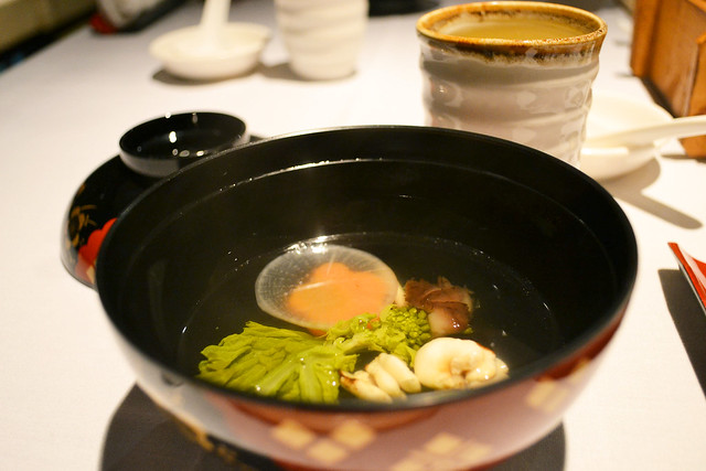 Dashi broth with Shirako, Hachi, Mohamed Sultan