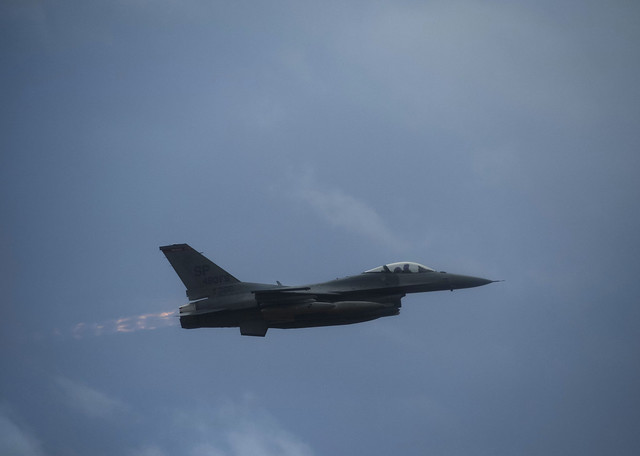 An F-16 takes off from Spangdahlem