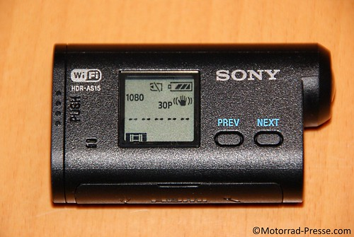 Display an der Sony HDR-AS15