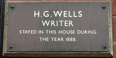 Photo of H. G. Wells grey plaque