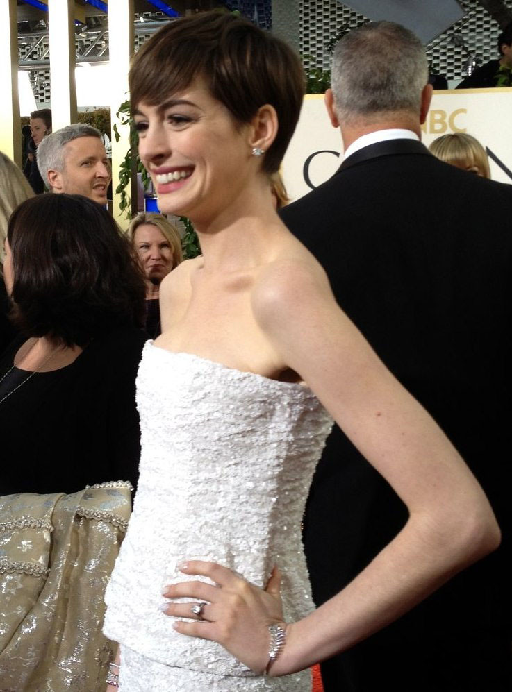 Anne Hathaway at the Golden Globes 2013