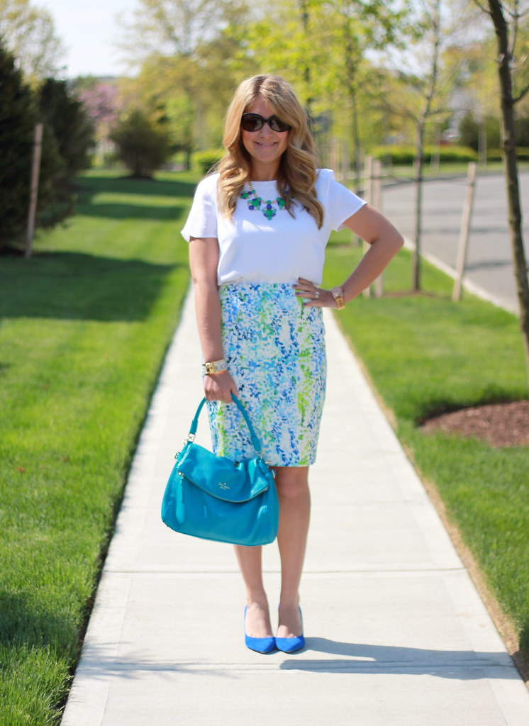 Watercolor Blue and Green Pencil Skirt spring work outfit
