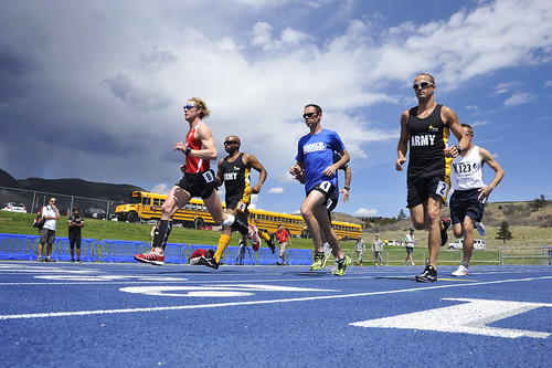 <p>Athletes sprint from the starting line during the men's open 1,500-meter race as part of the 2013 Warrior Games in Colorado Springs, Colo., May 14, 2013. The Warrior Games is an annual event allowing wounded, ill and injured Service members and veterans to compete in Paralympic sports including archery, cycling, shooting, sitting volleyball, track and field, swimming and wheelchair basketball. (DoD photo by Staff Sgt. Christopher Boitz, U.S. Air Force/Released)</p>