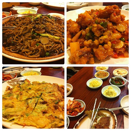 #latenighteats#korean#ogulbogul#pajun#jajangmyun#banchan#instacollage