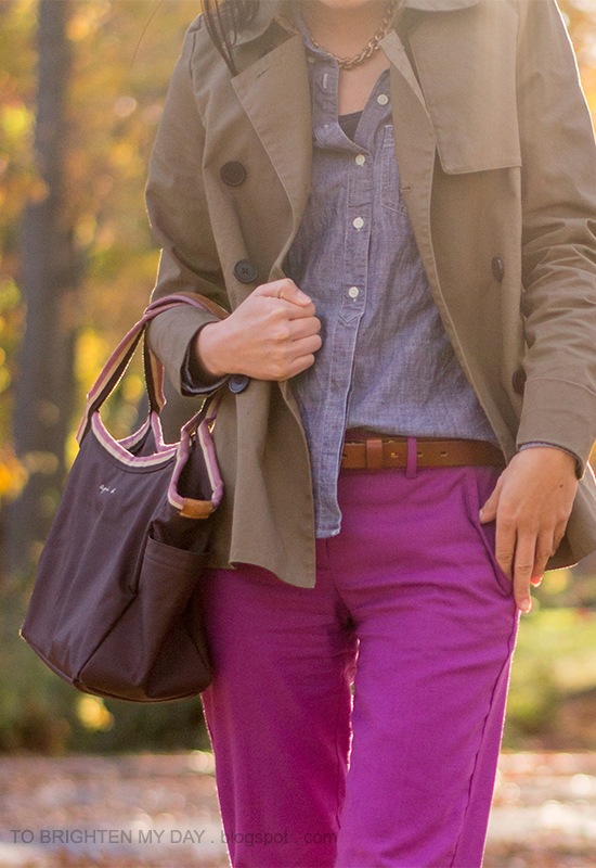 sage green swing trench jacket, chambray shirt, fuchsia pants