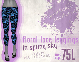 [IF] Floral Lace Leggings in Spring Sky