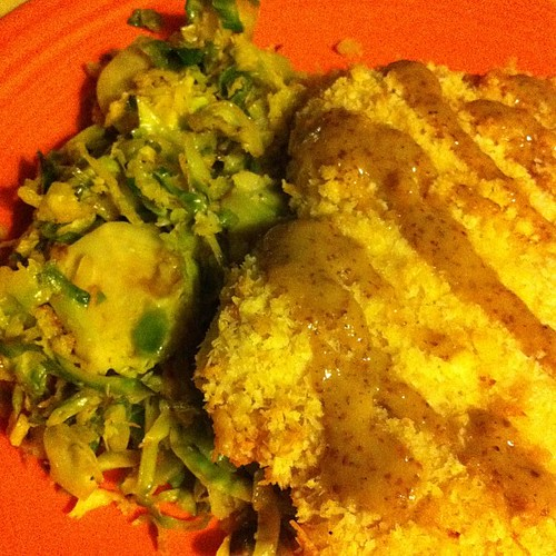 """Oven Fried"" Coconut Chicken with Brussels Salad & Spicy Honey Mustard Dressing #wfd"