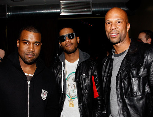 (EXCLUSIVE COVERAGE) (L-R) Hip Hop artist Kanye West, Kid Cudi and Common attend Common's Surprise Birthday Party at The Redbury Hotel on March 13, 2011 in Hollywood, California.