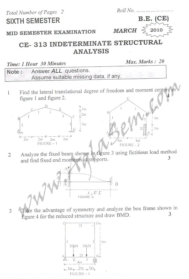 DTU Question Papers 2010 – 6 Semester - Mid Sem - CE-313