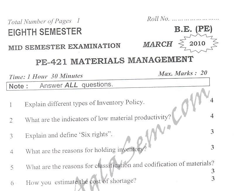 DTU Question Papers 2010 – 8 Semester - Mid Sem - PE-412