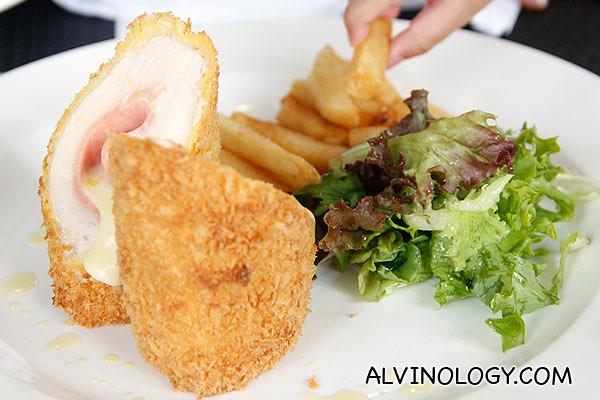 Pan seared Chicken Cordon Bleu and crispy truffle fries