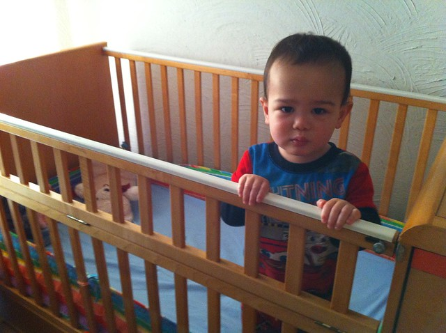 In his crib, not crying!