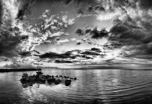 ocean sunset blackandwhite bw panorama usa cloud reflection water weather landscape unitedstates florida dusk keylargo