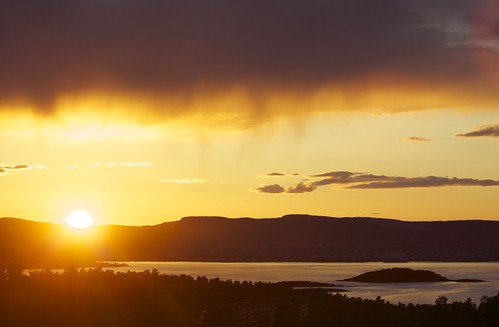 Sunset and rain over the Oslo fjord - Norway