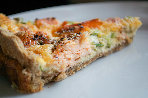 smoked salmon tart cut